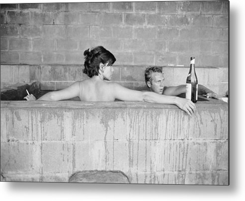 Looking Over Shoulder Metal Print featuring the photograph Mcqueen & Adams In Sulphur Bath by John Dominis