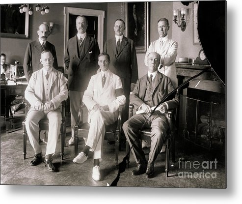 Central Bank Metal Print featuring the photograph Members Of Federal Reserve Board by Bettmann
