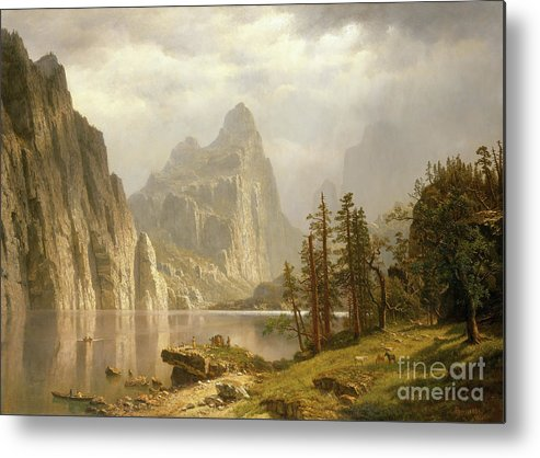 Oil Painting Metal Print featuring the drawing Merced River by Heritage Images