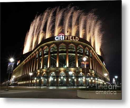 American League Baseball Metal Print featuring the photograph Miami Marlins V New York Mets by Christopher Pasatieri