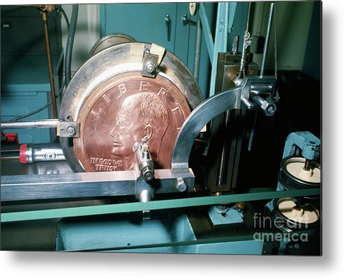 Coin Metal Print featuring the photograph Minting Of Eisenhower Dollar Coin by Bettmann