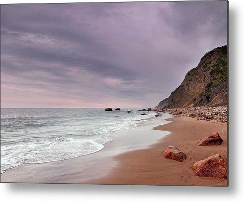 Water's Edge Metal Print featuring the photograph Mohegan Bluffs Beach- Block Island by Shobeir Ansari