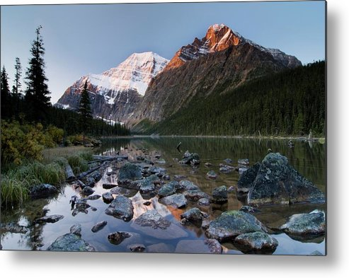 Scenics Metal Print featuring the photograph Mount Edith Cavell And Cavell Lake by Design Pics/philippe Widling