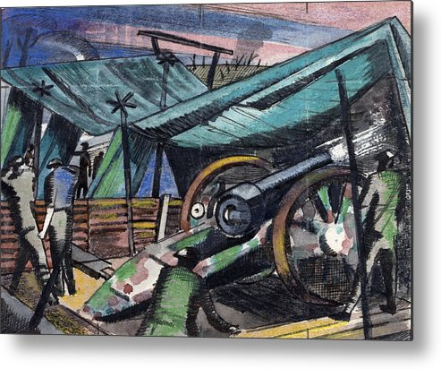 B1019 Metal Print featuring the painting A Howitzer Firing, 1918 by Paul Nash