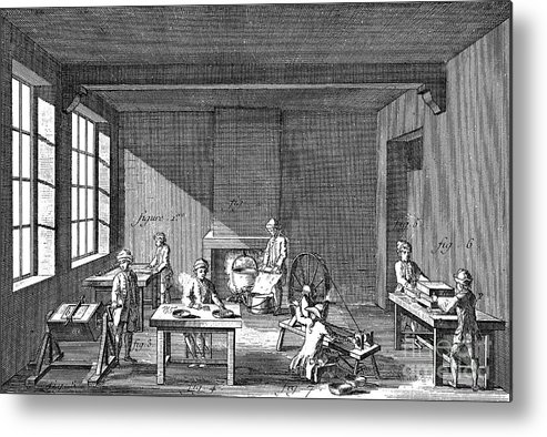 Working Metal Print featuring the drawing Needle-making, 1751-1780 by Print Collector