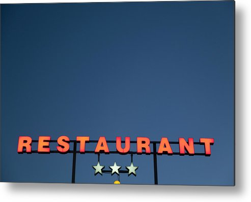 Temptation Metal Print featuring the photograph Neon 3 Star Restaurant Sign by Henglein And Steets