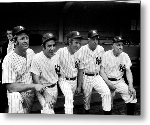 American League Baseball Metal Print featuring the photograph New York Yankees Hall Of Famers At Old by New York Daily News Archive