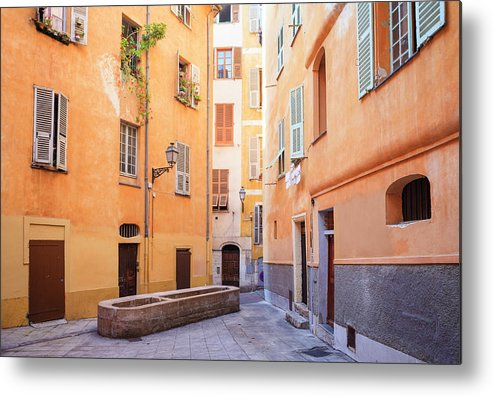 Orange Color Metal Print featuring the photograph Old Town Of Nice, French Riviera, France by Aprott