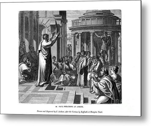 Engraving Metal Print featuring the drawing Paul Preaching At Athens, 1843.artist J by Print Collector