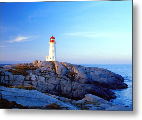 Water's Edge Metal Print featuring the photograph Peggys Cove Lighthouse At Sunrise by Photorx