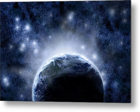 Outdoors Metal Print featuring the digital art Planet Earth And Stars by Nicholas Monu