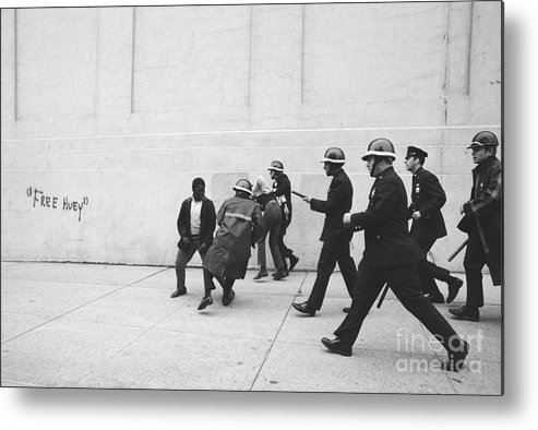 Marching Metal Print featuring the photograph Police And Students Clashing by Bettmann
