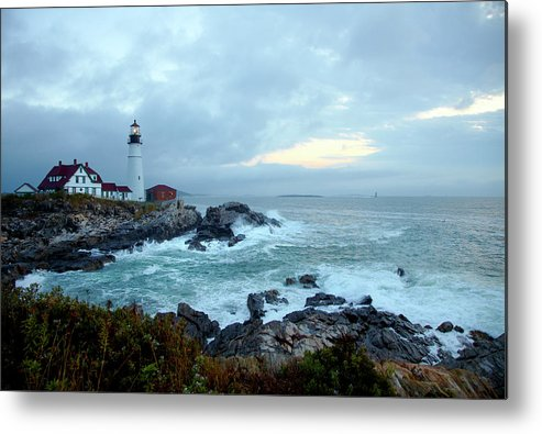 Dawn Metal Print featuring the photograph Portland Head Lighthouse At Sunrise by Thomas Northcut