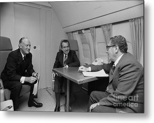 Advice Metal Print featuring the photograph Pres. Nixon Aboard Air Force One by Bettmann