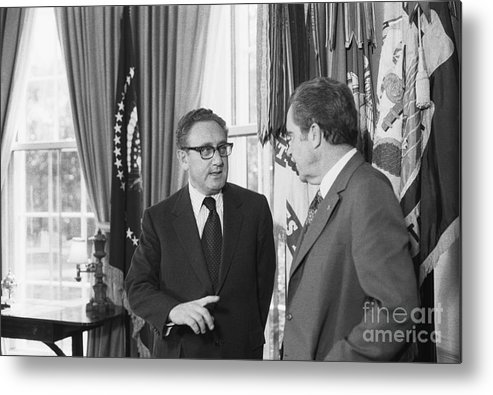 Mature Adult Metal Print featuring the photograph President Nixon And Henry A. Kissinger by Bettmann