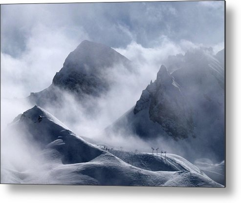 Scenics Metal Print featuring the photograph Pyramide And Roc Merlet In Courchevel by Niall Corbet @ Www.flickr/photos/niallcorbet