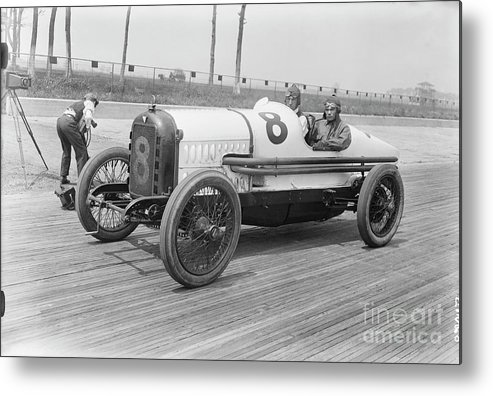 People Metal Print featuring the photograph Racecar At Sheepshead Bay Track by Bettmann