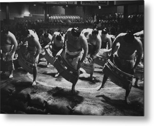 Timeincown Metal Print featuring the photograph Ring Dance Performed By Sumo Wrestlers by Bill Ray