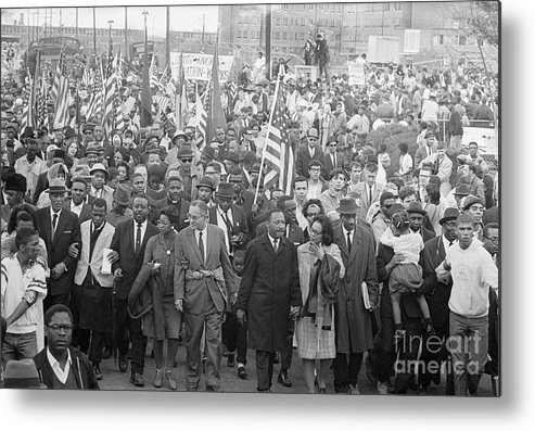 Crowd Of People Metal Print featuring the photograph Selmamontgomery March Leaders & Crowd by Bettmann