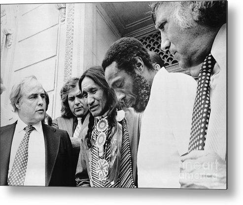People Metal Print featuring the photograph Selo Blackcrow With Marlon Brando by Bettmann