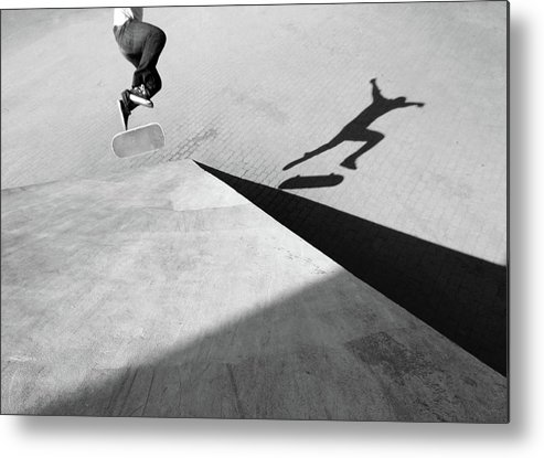 Shadow Metal Print featuring the photograph Shadow Of Skateboarder by Mgs