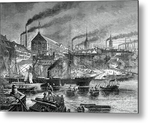 Engraving Metal Print featuring the drawing Shipyards And Shipping On The Clyde by Print Collector
