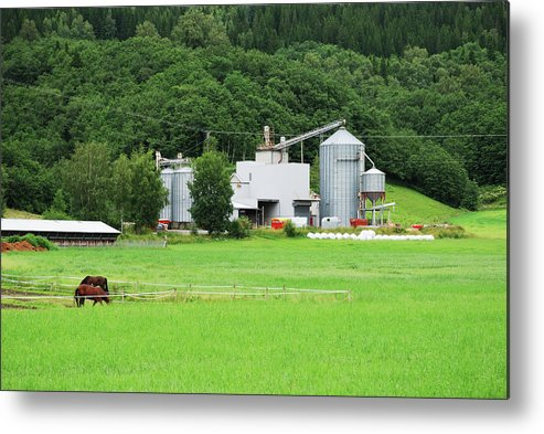 Field Metal Print featuring the photograph Small Factory Between Green Field And by Oks mit