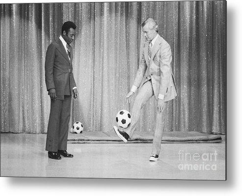 Pelé Metal Print featuring the photograph Soccer Player Pele On Johnny Carsons by Bettmann