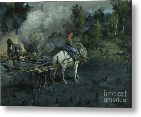 Oil Painting Metal Print featuring the drawing Soil Preparation For Linseed by Heritage Images