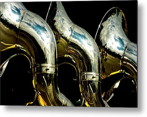 Music Metal Print featuring the photograph Souzaphones On Parade by By Ken Ilio