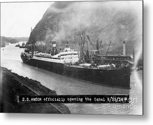 Container Ship Metal Print featuring the photograph Ss Ancon At The Opening Of The Panama by Bettmann