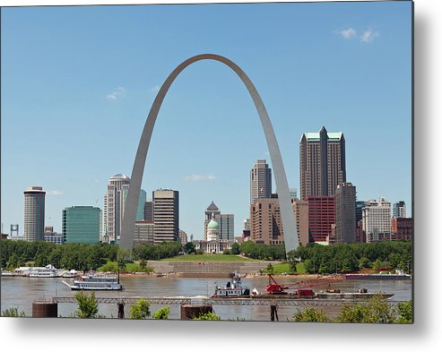 Built Structure Metal Print featuring the photograph St. Louis Skyline With The Gateway Arch by Kubrak78