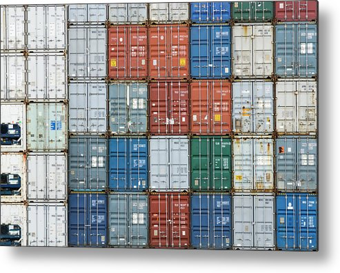 Trading Metal Print featuring the photograph Stack Of Cargo Containers Full Frame by Andy Andrews