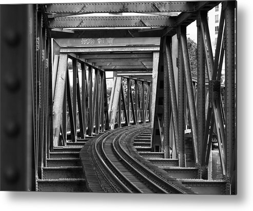 Railroad Track Metal Print featuring the photograph Steel Girder Railway Bridge by Peterjseager