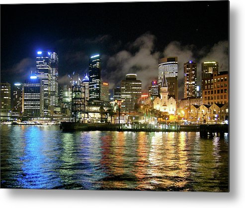Outdoors Metal Print featuring the photograph Sydney Harbour At Night - Circular Quay by Gregory Adams