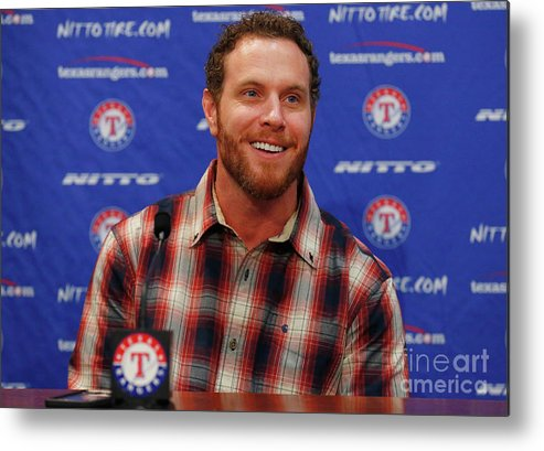 People Metal Print featuring the photograph Texas Rangers Introduce Josh Hamilton by Tom Pennington