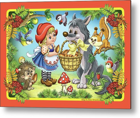 Wolf Metal Print featuring the digital art The Little Red Riding Hood by Olga And Alexey Drozdov