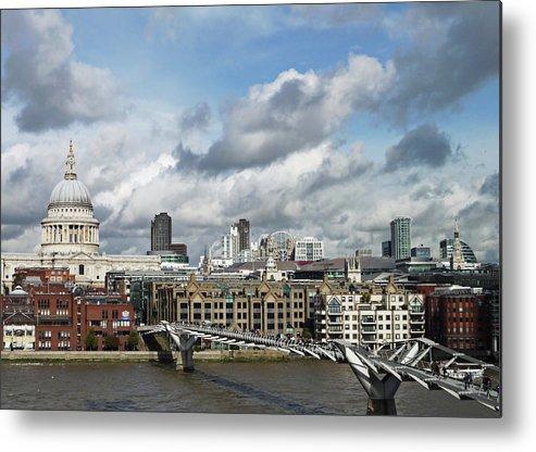 London Millennium Footbridge Metal Print featuring the photograph The London Skyline Towards St Pauls by Eyespy