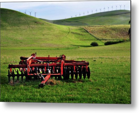 Working Metal Print featuring the photograph Tractor Blades On Green Pasture by Mitch Diamond