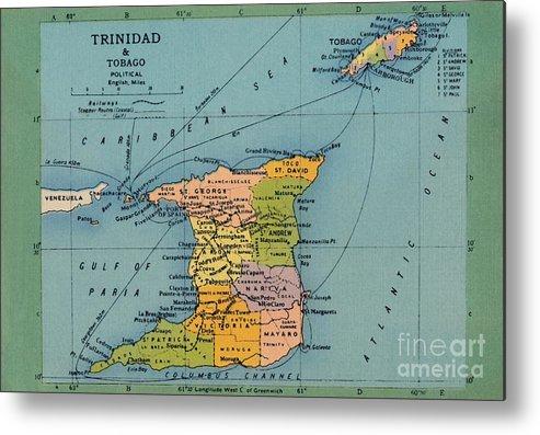 Trinidad And Tobago Metal Print featuring the drawing Trinidad & Tobago Map by Print Collector