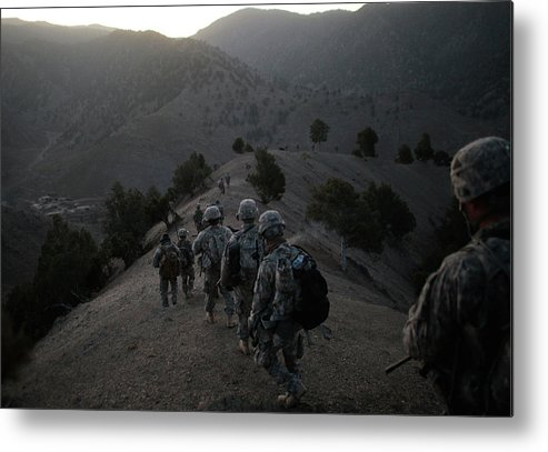 War Metal Print featuring the photograph Us Army Searches For Militants In by Chris Hondros