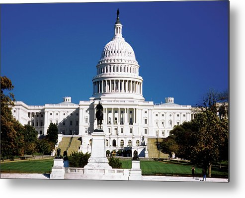 Statue Metal Print featuring the photograph U.s. Capitol Building In Washington by Medioimages/photodisc
