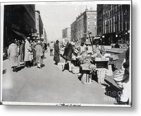 People Metal Print featuring the photograph Vegetable Stands In Harlem by Bettmann