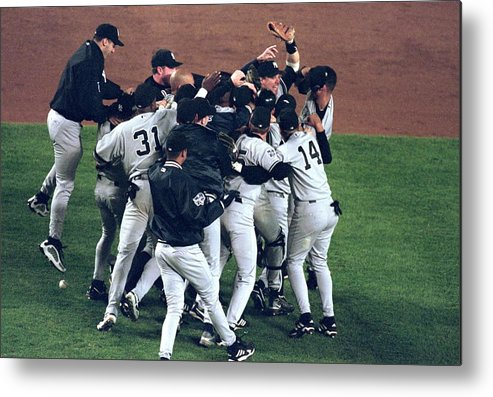 Celebration Metal Print featuring the photograph View Of Yankees by Al Bello