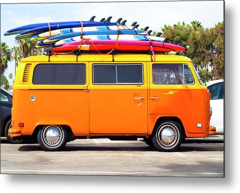 Youth Culture Metal Print featuring the photograph Volkswagen Bus With Surf Boards by Pete Starman