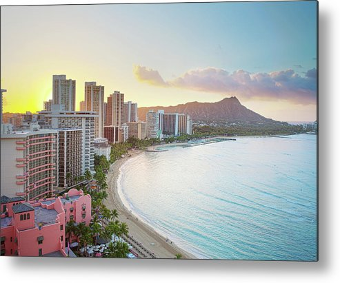 Scenics Metal Print featuring the photograph Waikiki Beach At Sunrise by M Swiet Productions