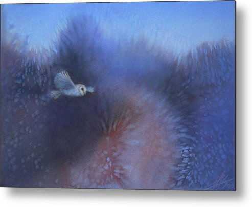 Landscape Metal Print featuring the painting Walking among Barn Owls by Robin Street-Morris