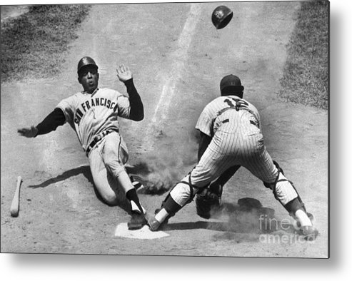 Headwear Metal Print featuring the photograph Willie Mays Sliding Into Home Plate by Bettmann