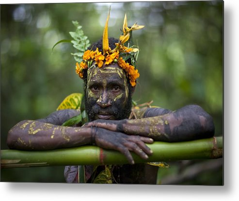 Thank You Metal Print featuring the photograph Witchdoctor In Ulul Village In New by Eric Lafforgue
