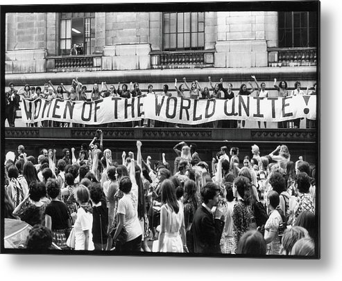 Marching Metal Print featuring the photograph Women Of The World Unite by Fred W. McDarrah